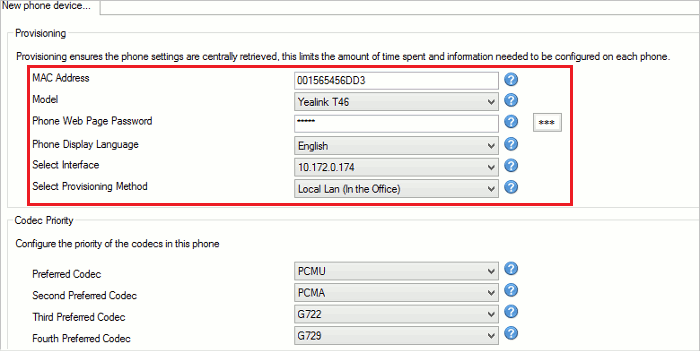 This is an image of the extension setting page for the Yealink T46G