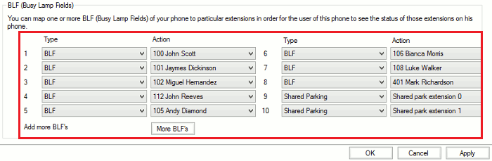This image is a screenshot of the BLF Configuration Window for the Yealink T46G