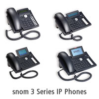 Image shows the snom 3 series IP phones
