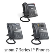 Image shows the snom 7 series IP phones