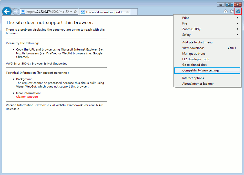This image shows you how to click on the Settings icon and then Compatibility View Settings in Internet Explorer 11