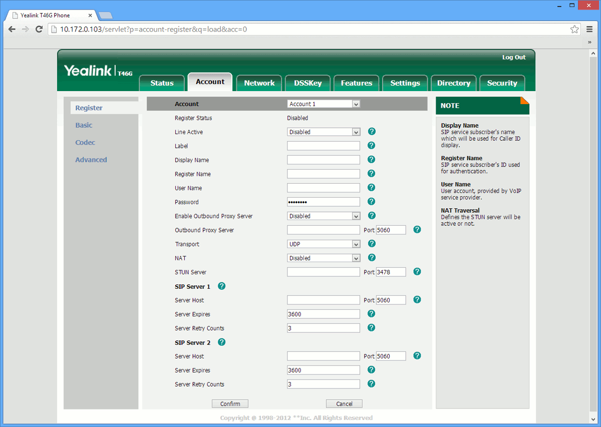 This image shows your the web GUI of a Yealink T32G, T38G, T42G, T48G IP phone