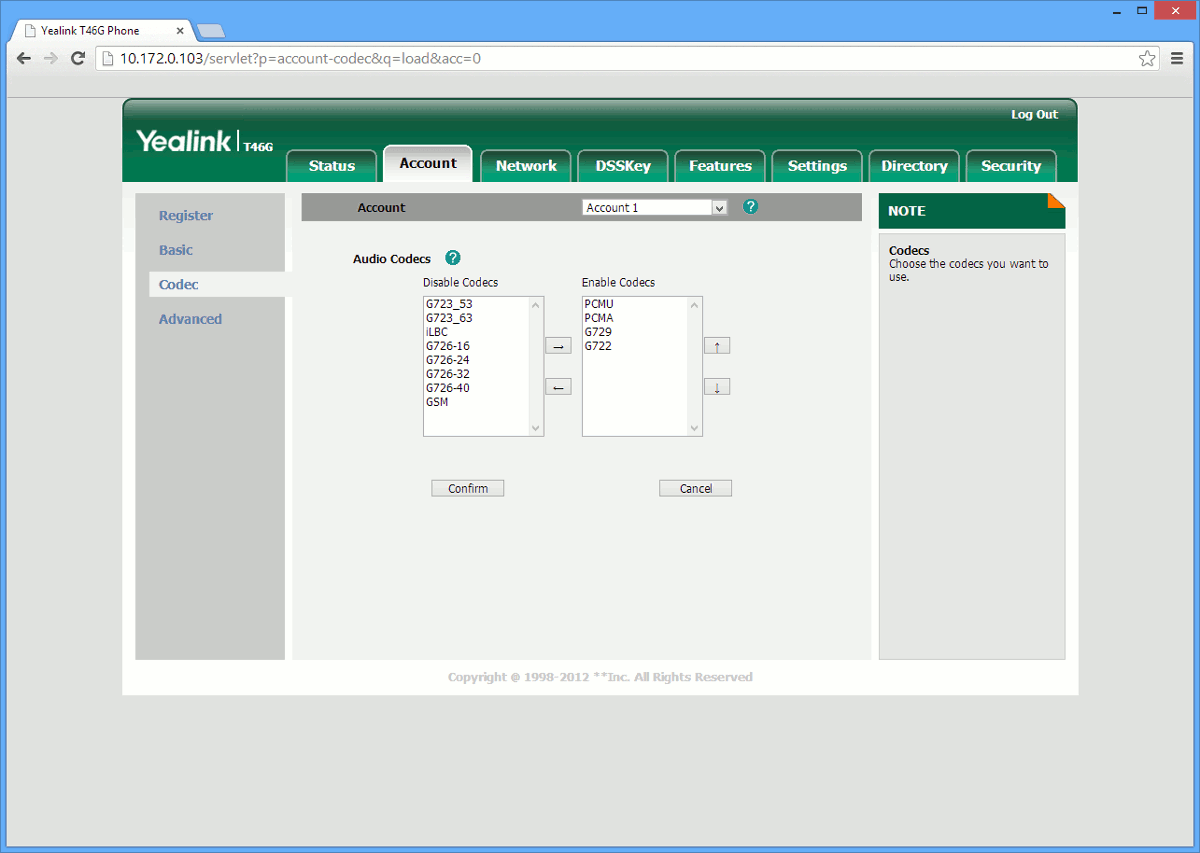 This image shows you the Codec Priority screen which is found in the Yealink T32G, T38G, T42G, T46G IP phones