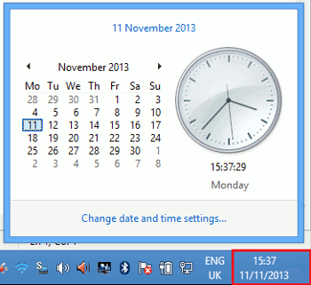 Click on the Time and date on the notification area of your taskbar so that you can configure your time settings for your Windows machine