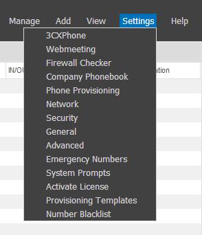 3CX Web Management Console - Top menu details