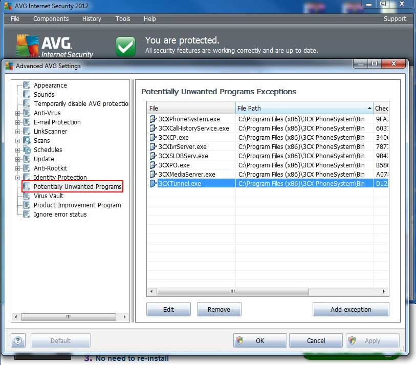 Adding 3CX Phone System Processes to the AVG Exceptions List