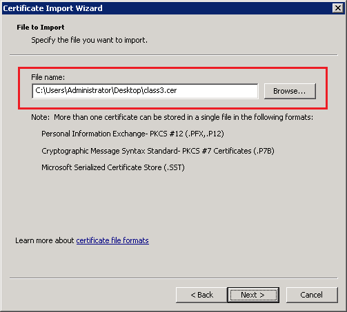 Import Certificate Wizard