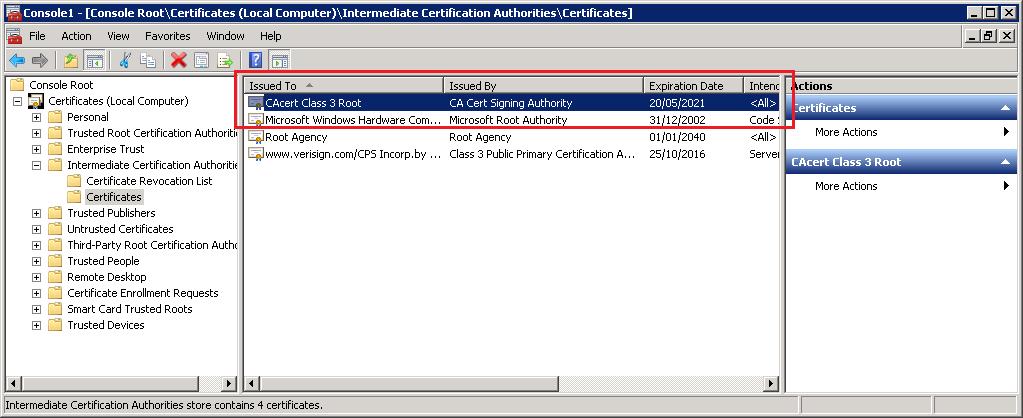 Intermediate Certificate Imported