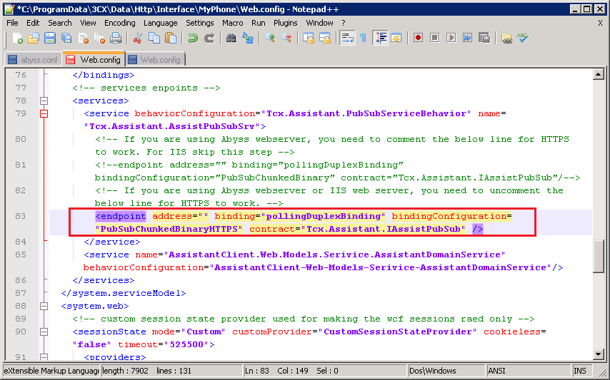 Edit Web.Config