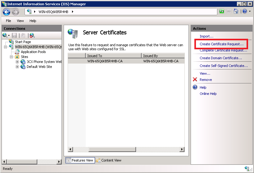 Create a certificate request in IIS Server
