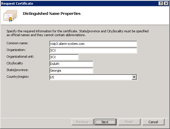 Setting Distinguished Name Properties in IIS