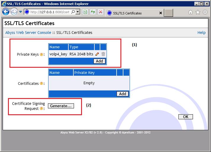 Abyss - Generate Certificate Request