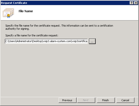 Specify File Name For certificate request