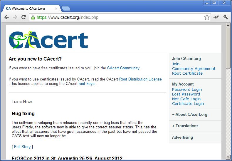 CAcert website