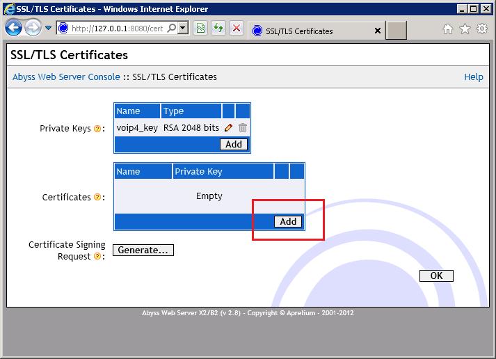 Abyss - Add Certificate