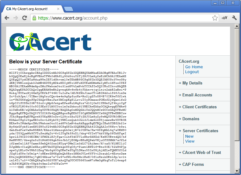 Server Certificate is generated by CA