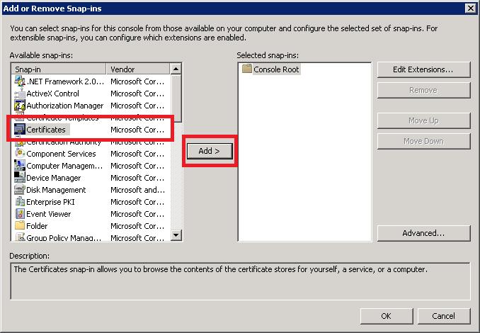MMC - Add Certificates