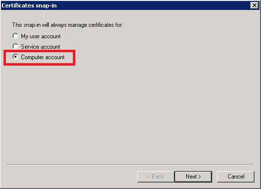 MMC - Add Certificate Store Computer Account