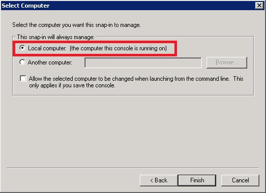 MMC - Select Local Computer