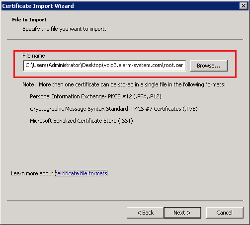 Import Root Certificate Path
