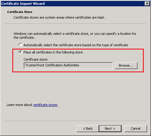 Select Place To Put Certificate