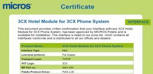 3CX Hotel Module and Micros Fidelio